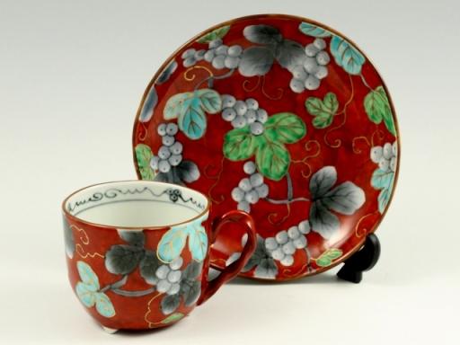 染錦ぶどう(赤) コーヒーカップ&ソーサー