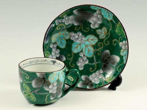 染錦ぶどう(緑) コーヒーカップ&ソーサー
