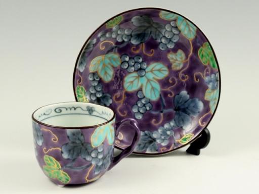 染錦ぶどう(紫) コーヒーカップ&ソーサー