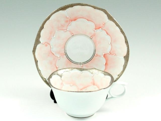 プラチナピンク牡丹輪花浅型 コーヒーカップ&ソーサー
