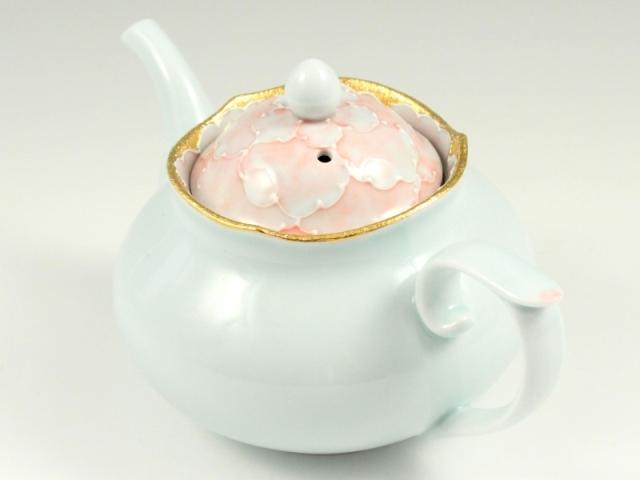 金ピンク牡丹 (U)輪花小ポット
