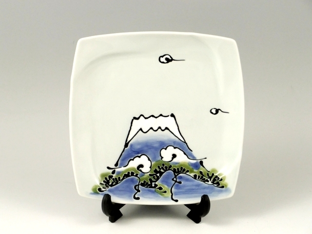 松富士(青富士) 角小飾皿