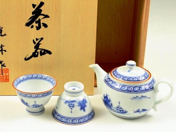 京山水 小茶器揃(玉露煎茶5 ミニポット1)