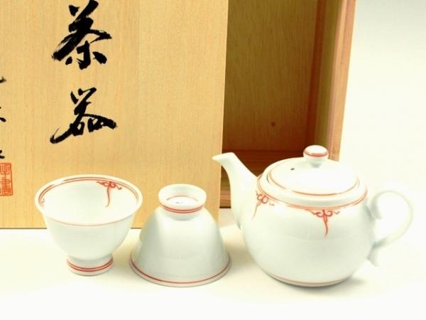 渕瓔珞(赤) 小茶器揃(玉露煎茶5 ミニポット1)