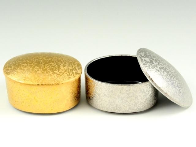 金濃黒釉掛分・プラチナ濃黒釉掛分 ぺア楕円蓋物(小)