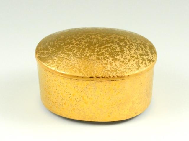 金濃黒釉掛分 楕円蓋物(小)