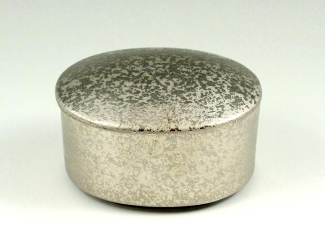 プラチナ濃黒釉掛分 楕円蓋物(小)