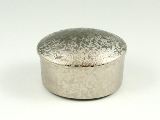 プラチナ濃黒釉掛分 楕円蓋物(ミニ)