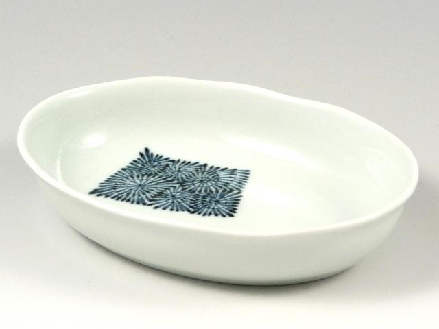 染付短冊蛸唐草 楕円鉢(小)