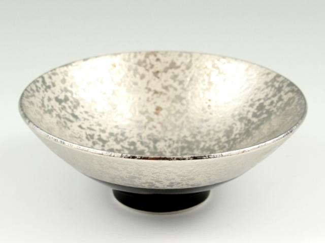 プラチナ濃黒釉掛分 反小鉢