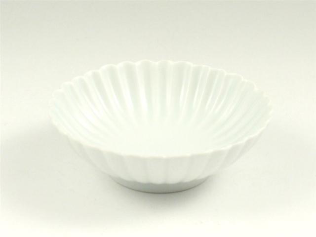 白マット 菊彫取鉢(小)