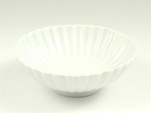 白マット 菊彫取鉢(大)
