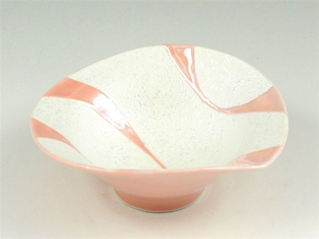 ピンク釉流水ラスター 朝顔型中付