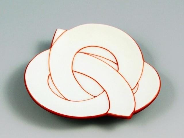 白磁赤線結び 小皿