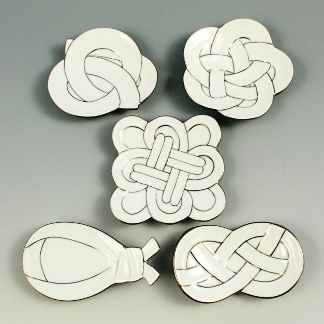 白磁プラチナ線(5柄) 小皿揃