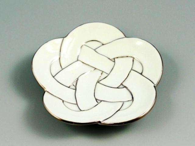 白磁プラチナ梅線結び 小皿