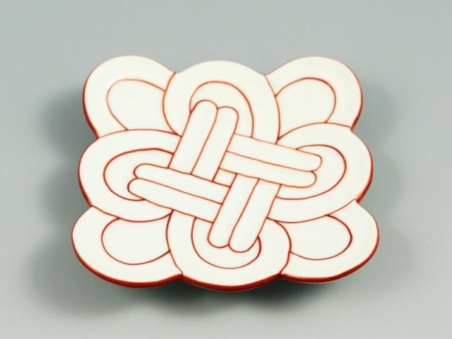 白磁赤線吉祥結び 小皿