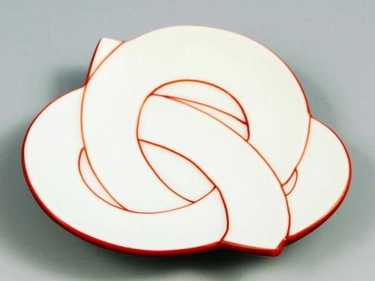 白磁赤線結び 銘々皿