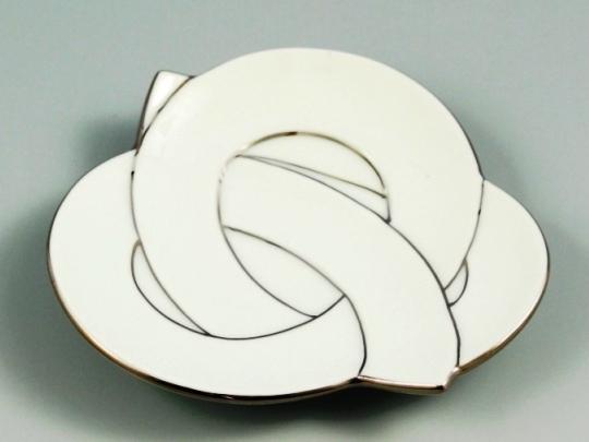 白磁プラチナ線結び 銘々皿
