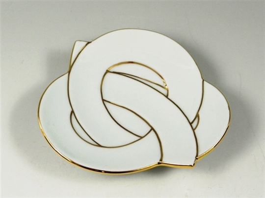 白磁金線結び 小皿