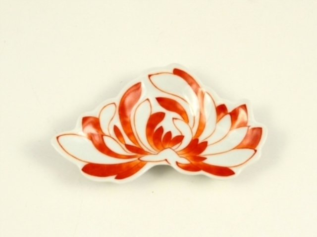 赤絵 菊花型2手塩皿