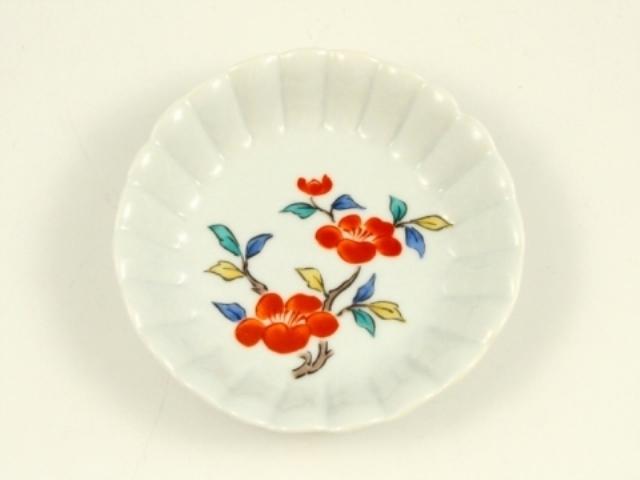 錦椿文 菊花型3手塩皿