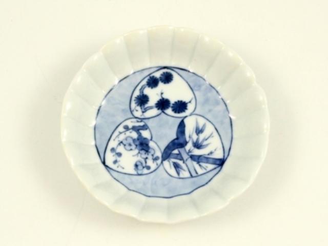 染付松竹梅 菊花型3手塩皿
