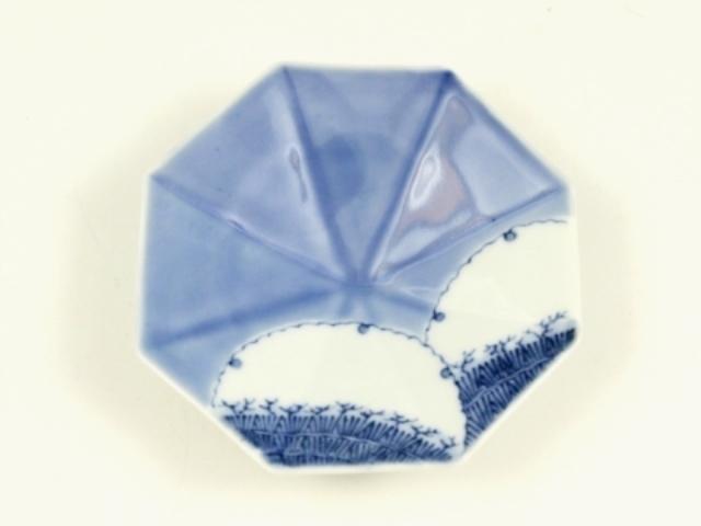 ルリ釉掛分紫垣雪輪文 八角型手塩皿