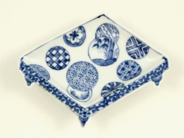 染付丸紋 盤型手塩皿