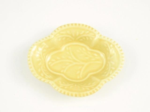 黄釉 木瓜型手塩皿
