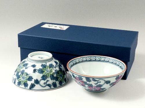 染錦鉄仙花 組茶碗