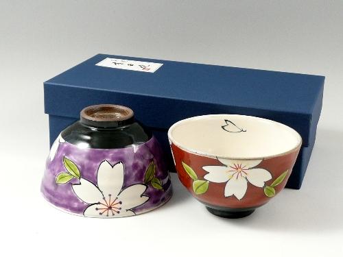 粉引色絵桜 組茶碗
