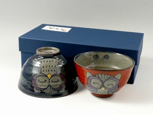 錦フクロウ 組茶碗