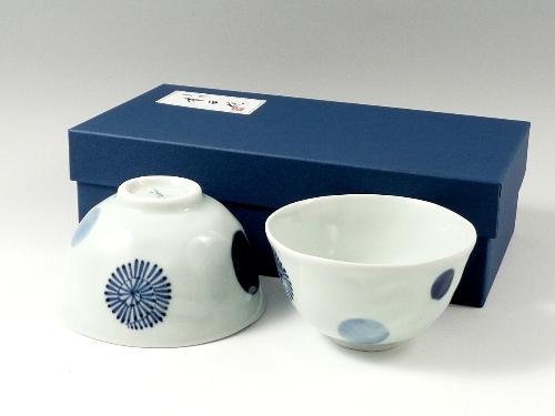 染付丸紋蛸唐草 組茶碗