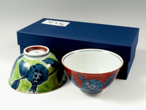 錦ザクロ 組茶碗
