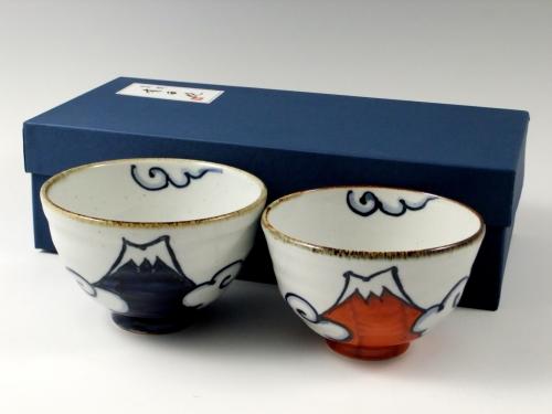 青富士・赤富士 組茶碗