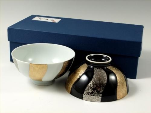 白釉・黒釉金プラチナ捻り濃 組茶碗