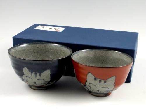 万歳猫 組茶碗