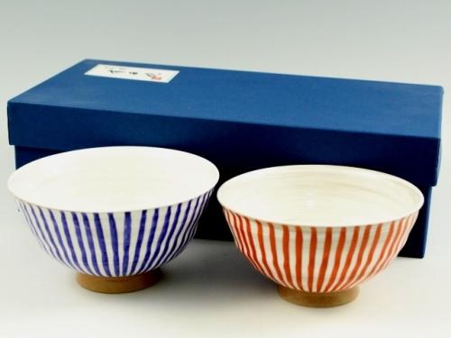 粉引錦十草 組茶碗
