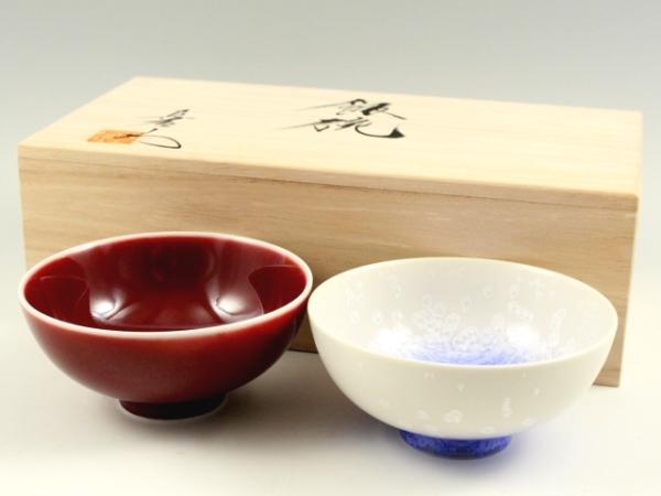 <真右エ門窯>辰砂・藍染水滴 組茶碗