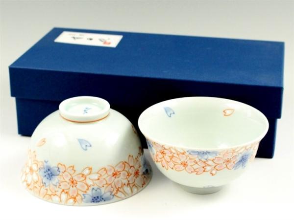 染錦渕桜 組茶碗