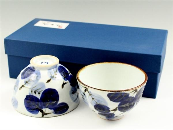 二色葉紋 組茶碗