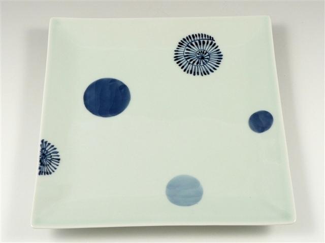染付丸紋蛸唐草 7.5寸角皿