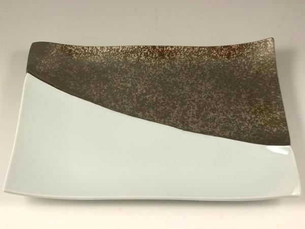 プラチナ濃白釉掛分 盛皿