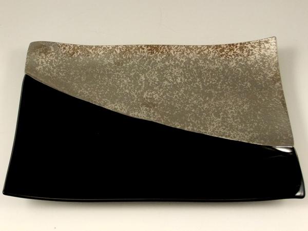 プラチナ濃黒釉掛分 盛皿