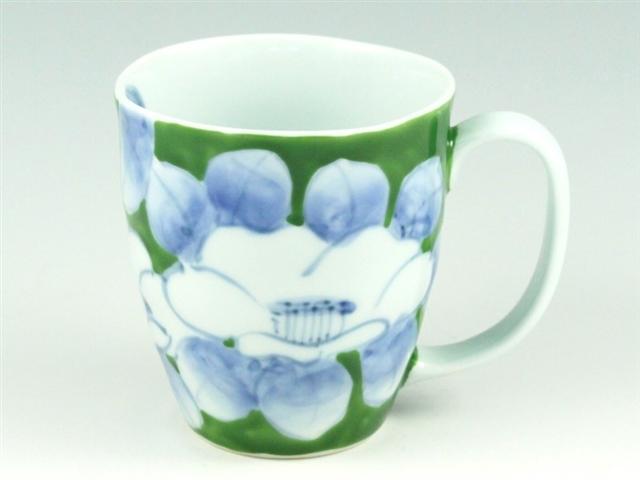 染錦椿(緑) マグカップ