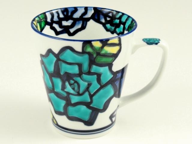 手描き薔薇(青) マグカップ