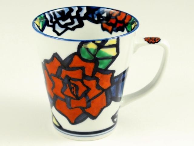 手描き薔薇(赤) マグカップ