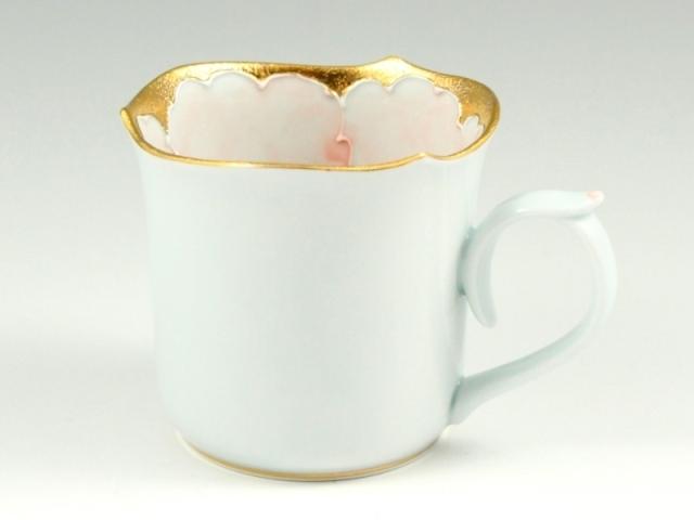金ピンク牡丹輪花型 マグカップ
