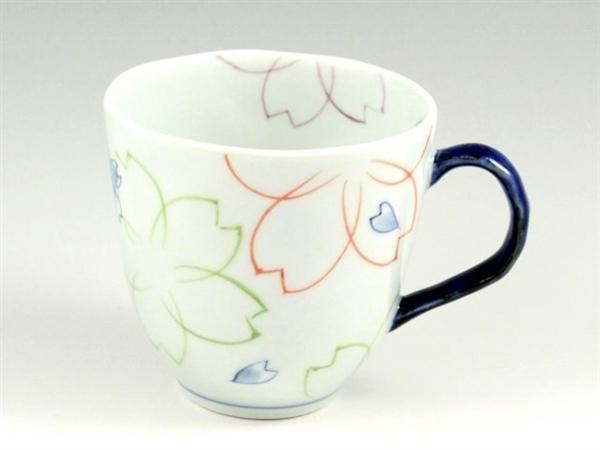 染付色絵桜(青) マグカップ